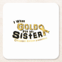 I Wear Gold For My Sister Childhood Cancer Square Paper Coaster