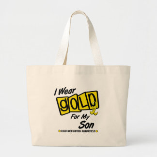 I Wear Gold For My SON 8 Large Tote Bag