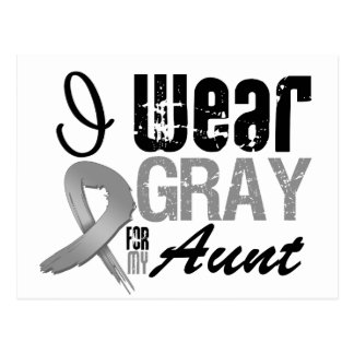I Wear Gray Awareness Ribbon For My Aunt Postcard