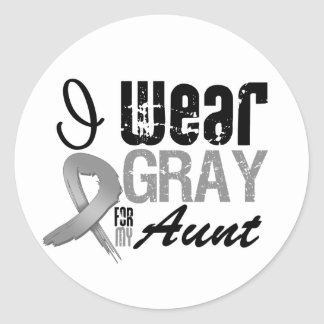 I Wear Gray Awareness Ribbon For My Aunt Sticker