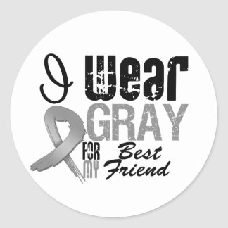 I Wear Gray Awareness Ribbon For My Best Friend Round Stickers