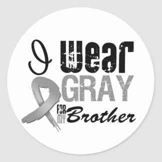 I Wear Gray Awareness Ribbon For My Brother Round Sticker