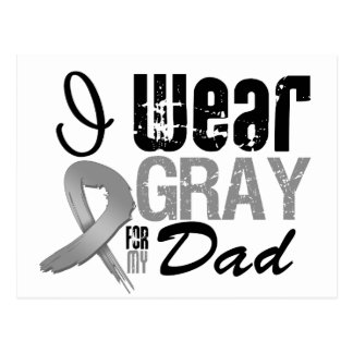 I Wear Gray Awareness Ribbon For My Dad Postcard
