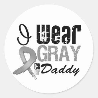 I Wear Gray Awareness Ribbon For My Daddy Sticker