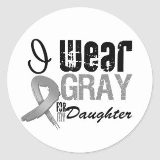 I Wear Gray Awareness Ribbon For My Daughter Round Stickers