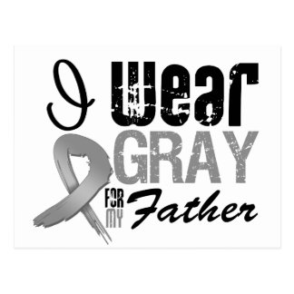 I Wear Gray Awareness Ribbon For My Father Postcard