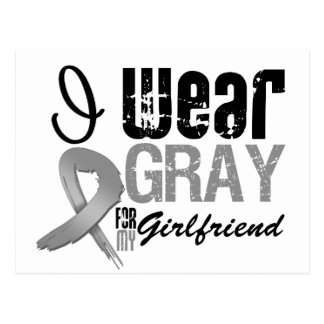 I Wear Gray Awareness Ribbon For My Girlfriend Postcard