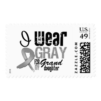 I Wear Gray Awareness Ribbon For My Granddaughter Postage Stamps