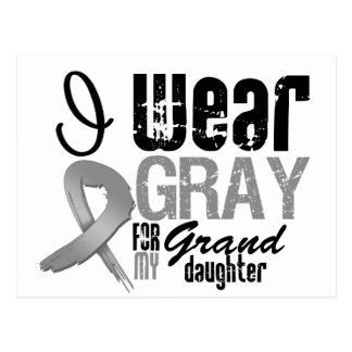 I Wear Gray Awareness Ribbon For My Granddaughter Postcard