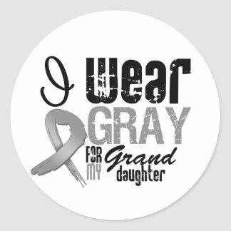 I Wear Gray Awareness Ribbon For My Granddaughter Round Sticker