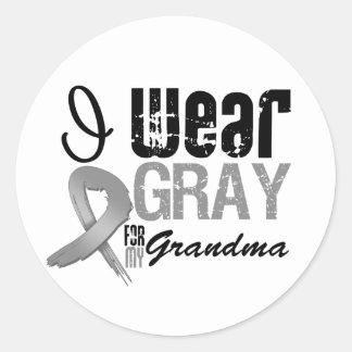 I Wear Gray Awareness Ribbon For My Grandma Round Stickers