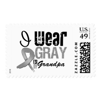 I Wear Gray Awareness Ribbon For My Grandpa Postage Stamps