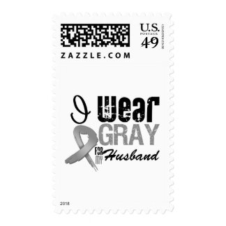 I Wear Gray Awareness Ribbon For My Husband Postage Stamps