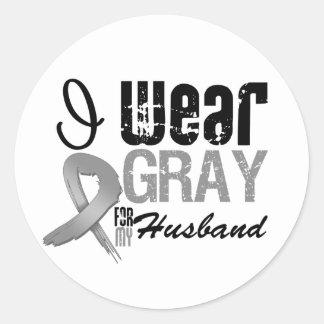 I Wear Gray Awareness Ribbon For My Husband Round Sticker