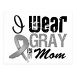 I Wear Gray Awareness Ribbon For My Mom Postcards