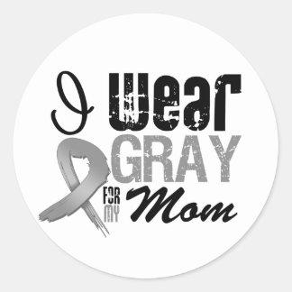 I Wear Gray Awareness Ribbon For My Mom Round Sticker