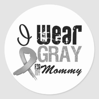 I Wear Gray Awareness Ribbon For My Mommy Sticker