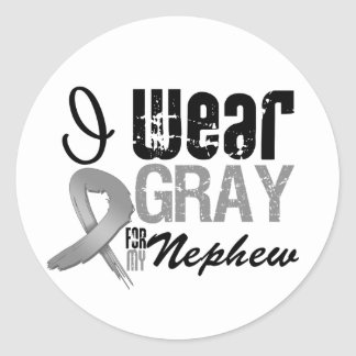 I Wear Gray Awareness Ribbon For My Nephew Round Sticker