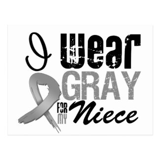 I Wear Gray Awareness Ribbon For My Niece Postcard