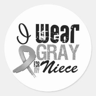 I Wear Gray Awareness Ribbon For My Niece Sticker