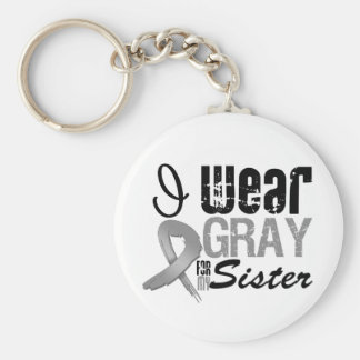 I Wear Gray Awareness Ribbon For My Sister Basic Round Button Keychain