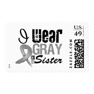 I Wear Gray Awareness Ribbon For My Sister Stamps