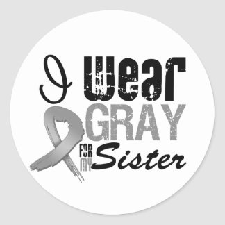 I Wear Gray Awareness Ribbon For My Sister Round Sticker