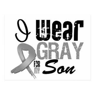 I Wear Gray Awareness Ribbon For My Son Postcard