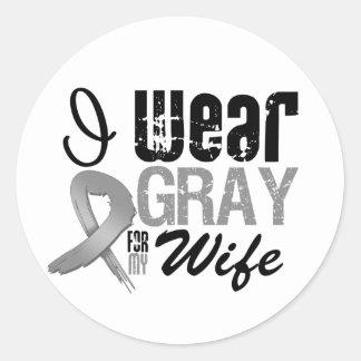 I Wear Gray Awareness Ribbon For My Wife Sticker