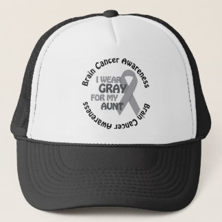 I Wear Gray For My Aunt Support Brain Cancer Trucker Hat