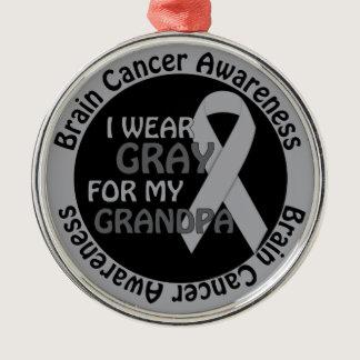 I Wear Gray For My Grandpa Brain Cancer Awarenes Metal Ornament