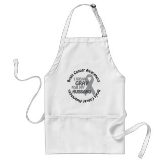 I Wear Gray For My Husband Brain Cancer Awarenes Adult Apron