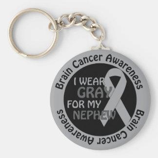 I Wear Gray For My Nephew Brain Cancer Awarenes Key Chains