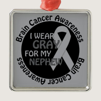 I Wear Gray For My Nephew Brain Cancer Awarenes Metal Ornament