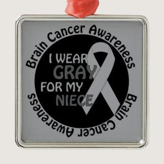 I Wear Gray For My Niece Brain Cancer Awarenes Metal Ornament