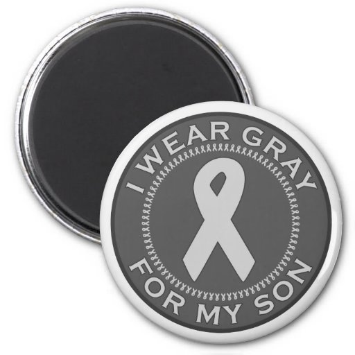 I Wear Gray For My Son 2 Inch Round Magnet