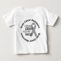 I Wear Gray For My UncleBrain Cancer Awarenes Baby T-Shirt