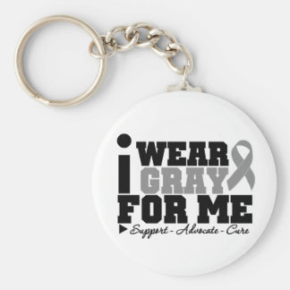 I Wear Gray Ribbon For Me Basic Round Button Keychain