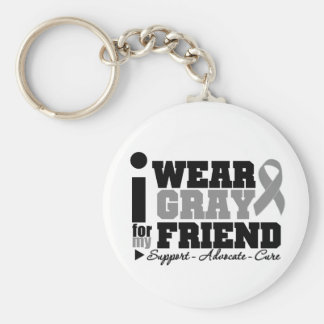 I Wear Gray Ribbon For My Friend Basic Round Button Keychain