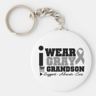 I Wear Gray Ribbon For My Grandson Basic Round Button Keychain