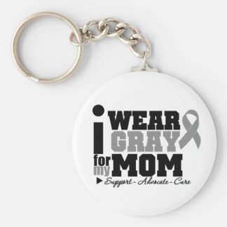 I Wear Gray Ribbon For My Mom Basic Round Button Keychain