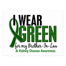 I Wear Green Brother-In-Law 10 Kidney Disease Postcard