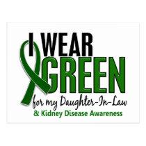 I Wear Green Daughter-In-Law 10 Kidney Disease Postcard