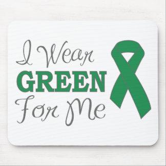 I Wear Green For Me Green Awareness Ribbon Mousepads