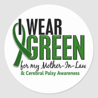 I Wear Green For Mother-In-Law 10 Cerebral Palsy Round Sticker
