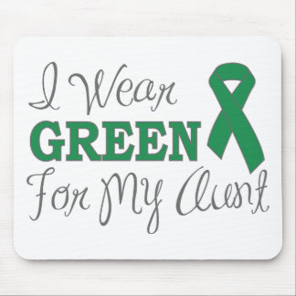I Wear Green For My Aunt Green Awareness Ribbon Mousepads