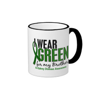 I Wear Green For My Brother 10 Kidney Disease Ringer Coffee Mug