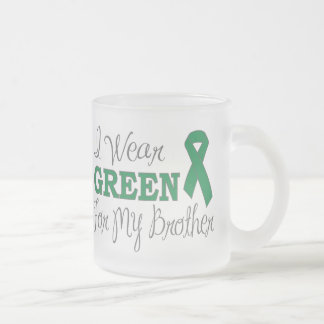 I Wear Green For My Brother (Green Ribbon) Frosted Glass Coffee Mug