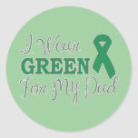 I Wear Green For My Dad (Green Awareness Ribbon) Sticker