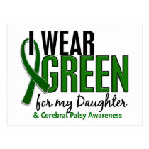 I Wear Green For My Daughter 10 Cerebral Palsy Postcard